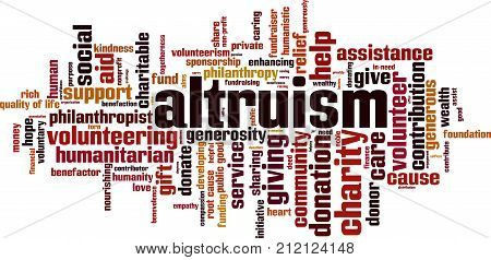 Altruism word cloud concept. Vector illustration on white