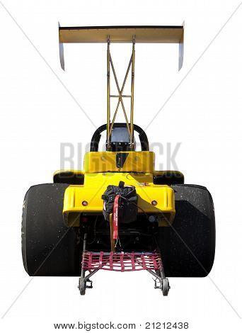 Yellow Dragster Seen From Behind Isolated On White