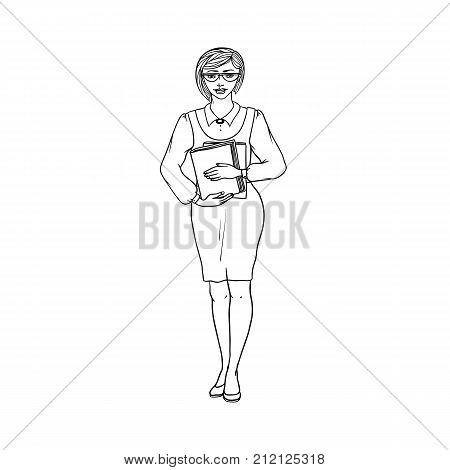 Young woman pedagogue, secretary or librarian in blouse and dress with books in hand. Worker education, finance or science. People of professions. Vector black sketch of realistic illustration