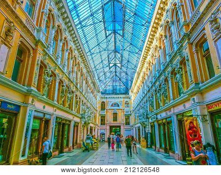 Odessa, Ukraine - Jily 09, 2017: Courtyard passage in Odessa, Ukraine on Jily 09, 2017. Historical and architecture of the late XIX - XX century. Located at the Deribasovskaya street.