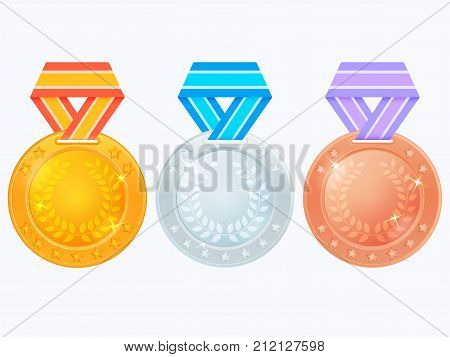 Set of medals on colored ribbons. Gold, silver and bronze medal icon. Vector medals isolated on white background