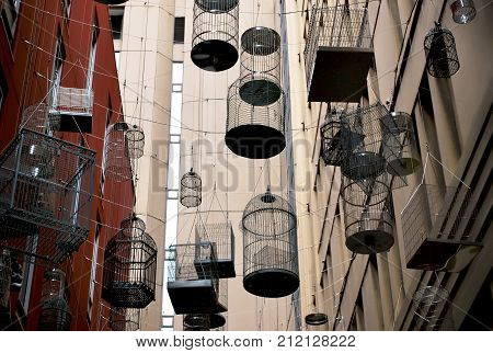Sydney Australia - July 29 2016: The Birdcages in vibrant Angel Place laneways precinct in the heart of Sydney.