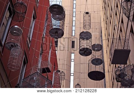 Sydney Australia - July 29 2016: The canopy of birdcages suspended above Angel Place.