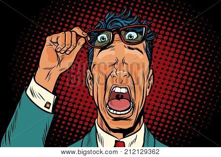eye on his forehead, the frightened man. Pop art retro vector illustration poster