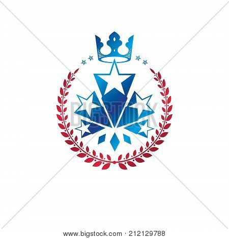 Military Star emblem created with royal crown and laurel wreath. Heraldic vector design element 5 stars guaranty insignia. Retro style label heraldry logo.
