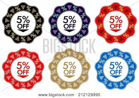 5 Off Discount Sticker. Set Of Banner Design With 5 Off