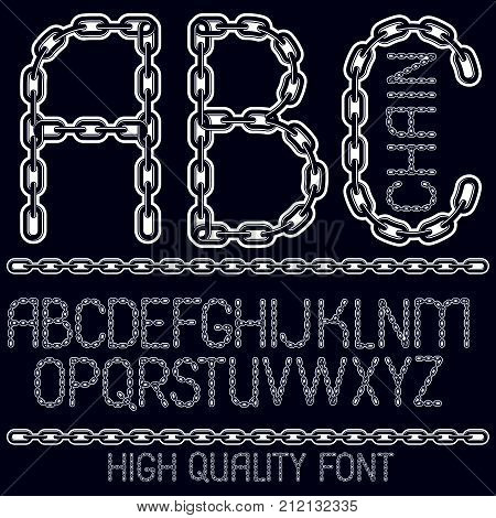 Vector Script, Modern Alphabet Letters, Abc Set. Capital Decorative Font Created Using Connected Cha