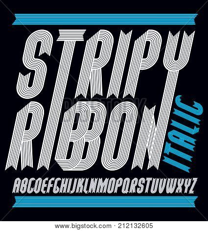 Vector Funky Capital English Alphabet Letters Collection. Modern Italic Condensed Bold Font, Script