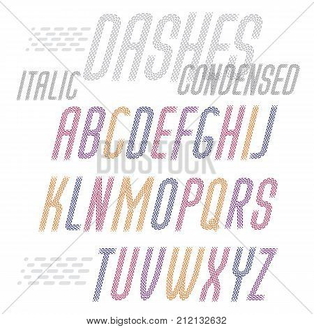 Vector Capital Condensed Modern Alphabet Letters Set. Rounded Italic Retro Type Font, Script From A