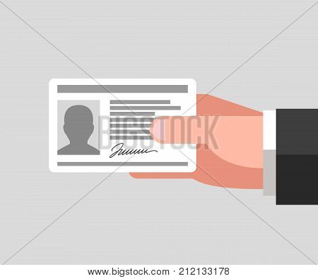 Identity document in man's hand. Personal information concept