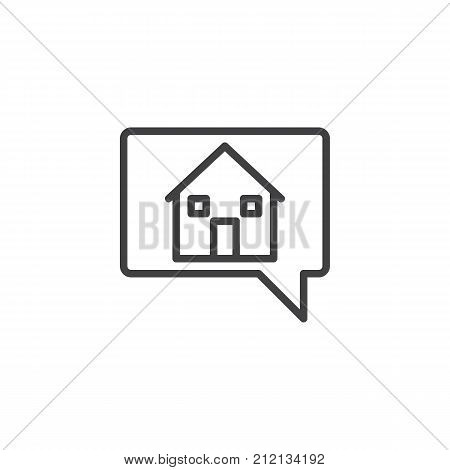 House in chat bubble line icon, outline vector sign, linear style pictogram isolated on white. Symbol, logo illustration. Editable stroke