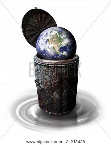 Earth In Garbage Bin