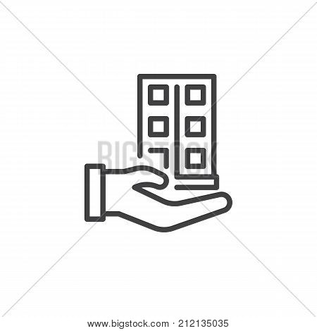 House building in hand line icon, outline vector sign, linear style pictogram isolated on white. Insurance, selling real estate symbol, logo illustration. Editable stroke