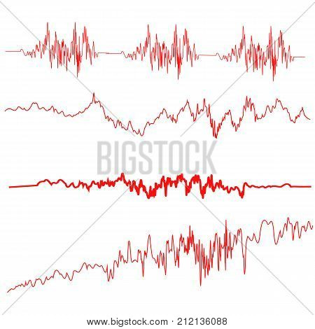 Red Sound Waves Set. Screen of Equalizer. Musical Vibration Graph. Radio Wave Amplitude