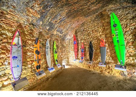 Nazare, Portugal - August 15, 2017: Surfers museum inside Fortress of St. Michael in Nazare Sitio the high part of village near Praia do Norte, one of the most impressive surf sites in the world.