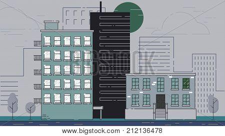 City Street stroke style illustration skyskrapers rasterized