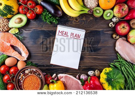 Selection of healthy food. Fresh organic vegetables fruits meat and fish. Healthy eating and meal plan concept. Top view