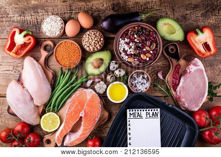 Healthy food selection. Meat fish vegetables for cooking grill. Ingredients for cooking. Meal planning. Top view