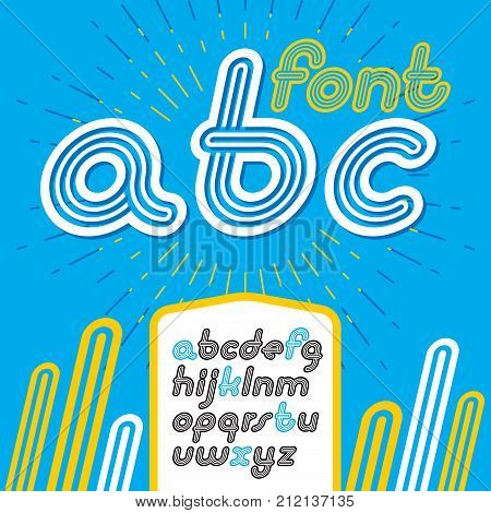 Vector Retro Lowercase English Alphabet Letters, Abc Collection. Cool Disco Italic Font, Script From