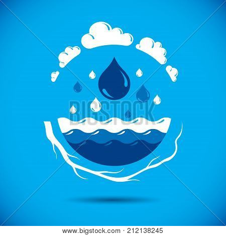 Global water circulation vector logo for use as marketing design symbol. Environment protection concept.