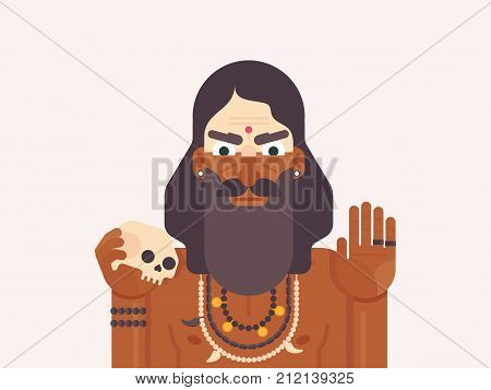 Holy Men of India. Cartoon character of a Holy Sadhu man with traditional painted face. Monk practicing Shaivism. Flat vector illustration