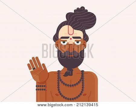 Indian Sadhu Monk. Cartoon character of an Holy Sadhu man with traditional painted face. Hindu Spirit Guide. Flat vector illustration