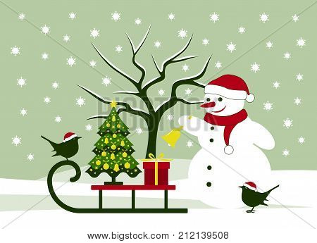 vector snowman ringing bell and sledge with christmas tree, birds and gift in snowy landscape