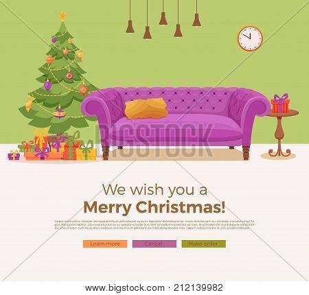 Christmas room interior in colorful cartoon flat style. Christmas tree, gifts, decoration, sofa, cat, aquarium fish. Cozy noel xmas night celebration interior vector illustration.