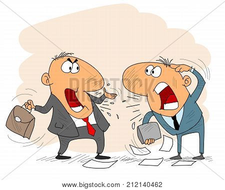 Vector illustration of two businessman arguing emotionally