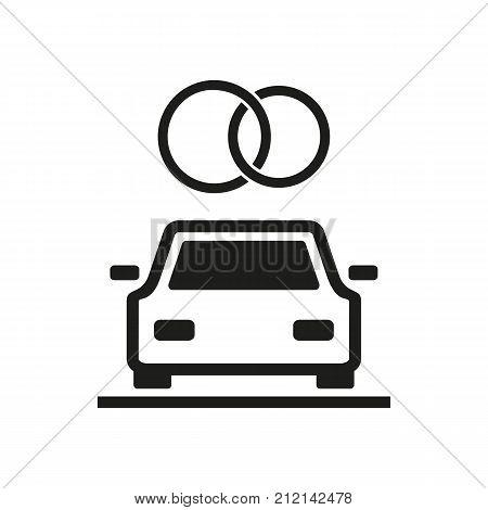 Icon of wedding car with rings on top. Newly married, limousine ceremony. Wedding concept. Can be used for topics like marriage, love, family