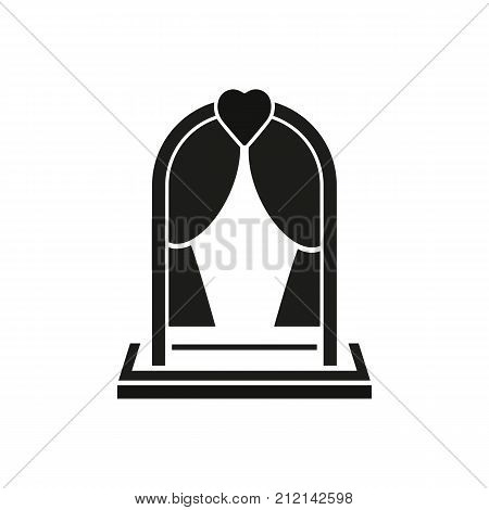 Icon of arc, portiere and heart. Wedding decoration, agency, service. Wedding concept. Can be used for topics like marriage, love, family.