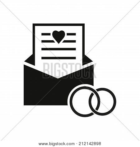 Icon of envelope with sheet of paper and two rings. Wedding vows, ceremony, speech. Wedding concept. Can be used for topics like marriage, love, family.