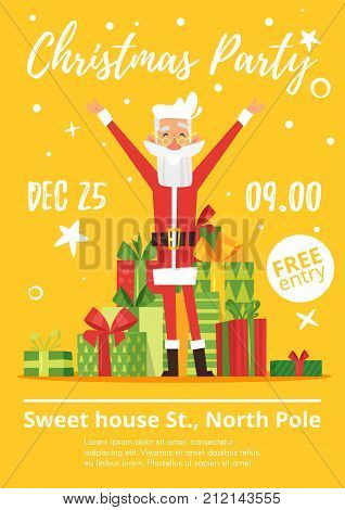Vector cartoon style poster for children's party with skinny happy Santa Claus and the mountain of gifts at the back on yellow background.