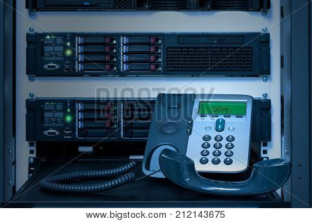 VOIP Phone (IP Phone) in data center room