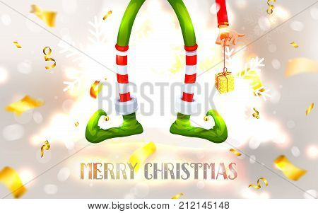 Elf's legs and Elf's hand with a gift. Funny assistant to Santa Claus. Festive Blurred White Silver Background. Christmas composition. Xmas collection. New Year vector illustration