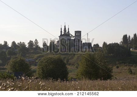 Church of Christ Resurrection at sunrise in village Varnitsy, Totemsky district, Vologda region, Russia