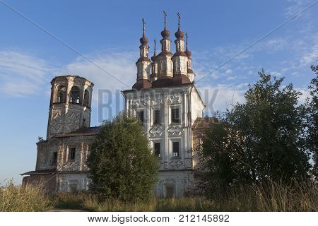Abandoned temple of the Resurrection in village Varnitsy, Totemsky district, Vologda region, Russia