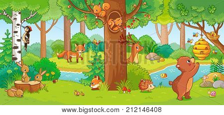 Vector Illustration With Cute Forest Animals In A Children's Style.