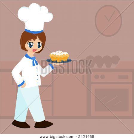 Cute Cartoon Baker Girl