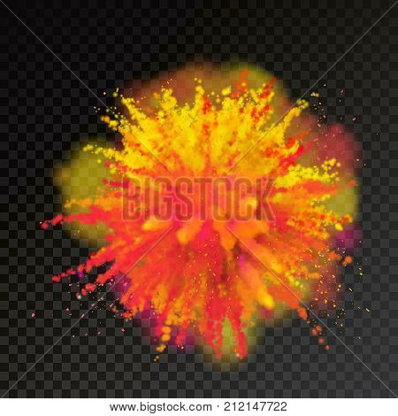Paint Powder Color Explosion On Transparent Background