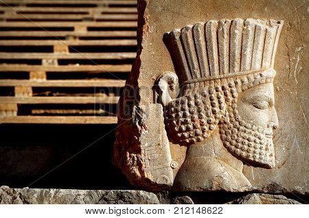Persepolis is the capital of the ancient Achaemenid kingdom. sight of Iran. Ancient Persia. Bas-relief carved on the walls of old buildings.