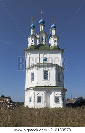 Trinity Church on the Green in the city of Totma, Vologda region, Russia