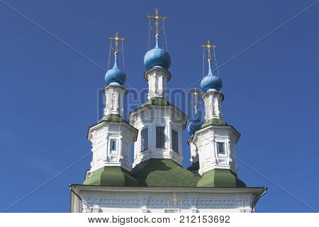 Domes of the church of the Trinity at the Greenery in Totma, Vologda Region, Russia