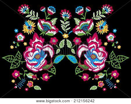 Embroidery trend neckline pattern with folk flowers. Vector embroidered colorful floral design for fashion wearing.