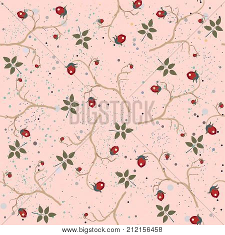 Red berry, Christmas Brier Spray Pattern. Hand drawn, whimsical, traditional style. Colorful artistic design, blossom. For backgrounds, wallpapers, fabric, prints, textiles, wrapping, cards, cover.