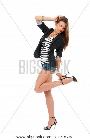 Pretty Full Body Brunette Woman Dancing In Casual Cloth With Touching Hill