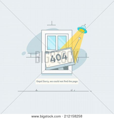 Design 404 error. Page is lost and not found message. Template for web page with 404 error. Flat line illustration concept for web and mobile design.