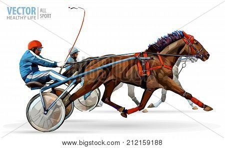 Jockey and horse. Two racing horses competing with each other. Race in harness with a sulky or racing bike. Vector illustration