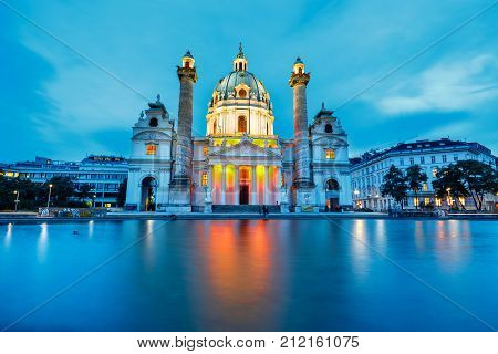 Vienna, Austria - October 15 2016: Night View Of Famous Saint Charles's Church At Karlsplatz In Vien