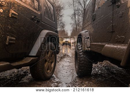 28.10.2017. Arkhangelsk tract. Leningrad region. Russia. check out offroad jeep Wrangler. The Wrangler is a compact SUV manufactured by Chrysler